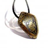 Caspol Glass カスポルグラス 盾型の紋章「王冠とユニコーン」  ペンダント