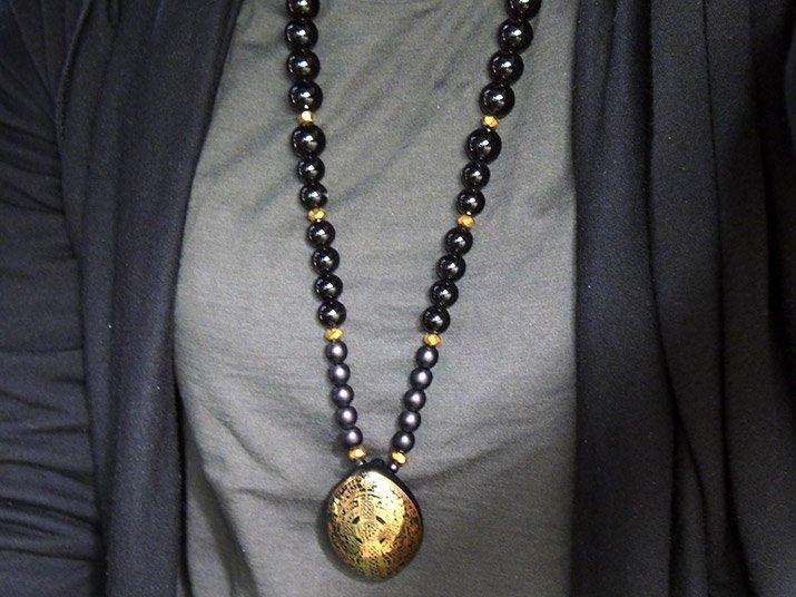 Caspol Glass カスポルグラス 「ケルトの十字架」ネックレス(黒)B