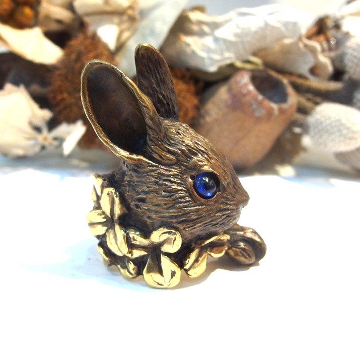 DECOvienya デコヴィーニャ 大きなウサギとクローバーリング ゴールド