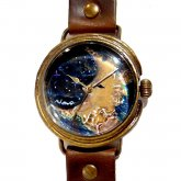 GIFT展 手作り腕時計 三鼓梨菜 「 壊れかけの月 」 L-size 33mm