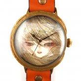 クロノキャンバス アート文字盤 佐久間 友香 Yuka Sakuma 「ひとみ」orange LL-size 37mm