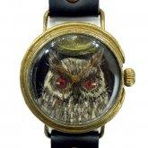 クロノキャンバス アート腕時計「月とフクロウ(黒)」佐久間 友香 Yuka Sakuma×A STORY TOKYO L-33mm