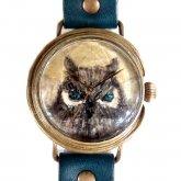 クロノキャンバス アート腕時計「月とフクロウ(茶)」佐久間 友香 Yuka Sakuma×A STORY TOKYO L-33mm