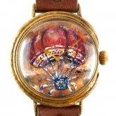 クロノキャンバス アート文字盤 手作り腕時計 三鼓梨菜 「 文明開花 1 」 LL-size 37mm