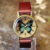 オオルリアゲハの腕時計 Classic Wristwatch blue butterfly