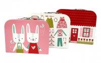 モダホーム うさぎ柄 ペーパーBOX 3個組(modahome Paperboard Suitcases-12)