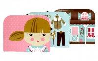 モダホーム 女の子柄 ペーパーBOX 3個組(modahome Paperboard Suitcases-13)