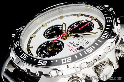 【JMW TOKYO】ホワイト&ブラック上級ソーラークロノグラフウォッチ100m防水【回転(逆回転防止)ベゼル】本革腕時計