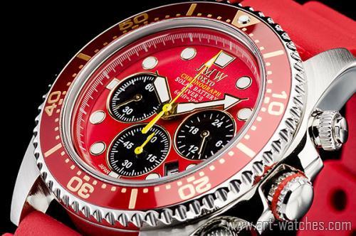 【JMW TOKYO】レッド&ゴールド上級ソーラーダイバー200m防水【回転(逆回転防止)ベゼル】クロノグラフ腕時計