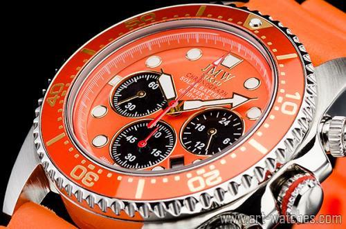 【JMW TOKYO】オレンジ&ホワイト上級ソーラーダイバー200m防水【回転(逆回転防止)ベゼル】クロノグラフ腕時計