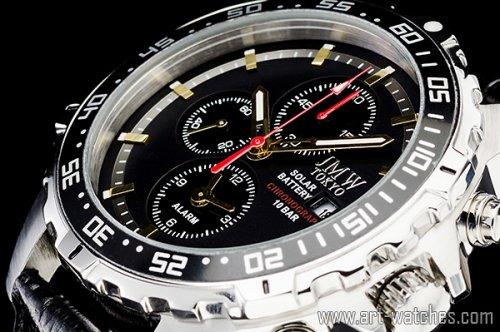 【JMW TOKYO】ブラック&ゴールド上級ソーラークロノグラフウォッチ100m防水【回転(逆回転防止)ベゼル】本革腕時計