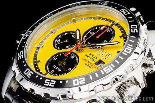 【JMW TOKYO】イエロー&ブラック上級ソーラークロノグラフウォッチ100m防水【回転(逆回転防止)ベゼル】本革腕時計