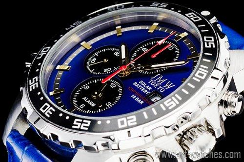 【JMW TOKYO】ブルー&ブラック上級ソーラークロノグラフウォッチ100m防水【回転(逆回転防止)ベゼル】本革腕時計