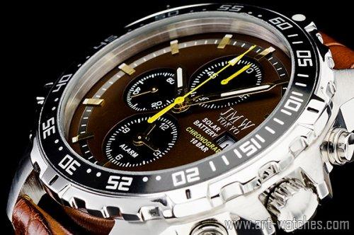 【JMW TOKYO】ブラウン&ブラック上級ソーラークロノグラフウォッチ100m防水【回転(逆回転防止)ベゼル】本革腕時計