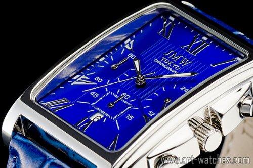 【JMW TOKYO】ブルー&シルバー角型ローマ数字インデックス上級クロノグラフウォッチ本革レザー腕時計