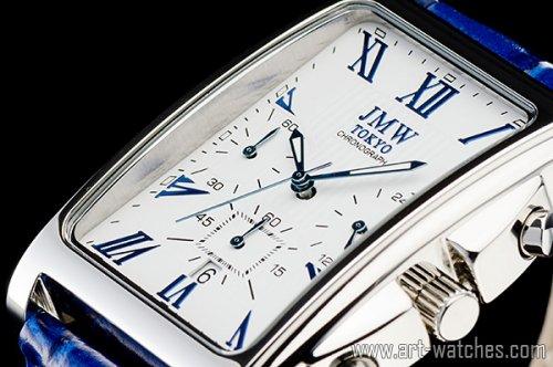 【JMW TOKYO】ホワイト&ブルー角型ローマ数字インデックス上級クロノグラフウォッチ本革レザー腕時計
