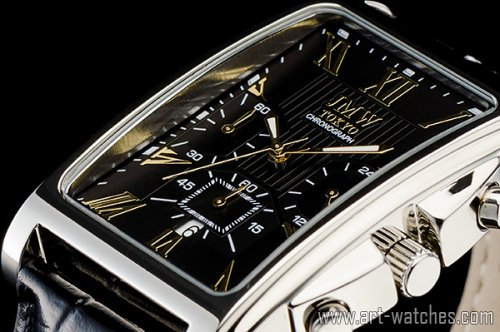 【JMW TOKYO】ブラック&ゴールド角型ローマ数字インデックス上級クロノグラフウォッチ本革レザー腕時計