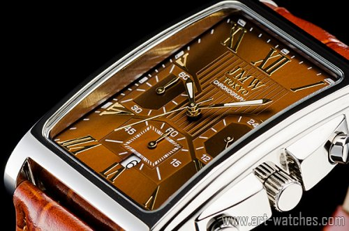【JMW TOKYO】ブラウン&ゴールド角型ローマ数字インデックス上級クロノグラフウォッチ本革レザー腕時計