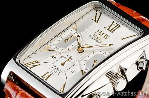 【JMW TOKYO】シルバー&ゴールド角型ローマ数字インデックス上級クロノグラフウォッチ本革レザー腕時計