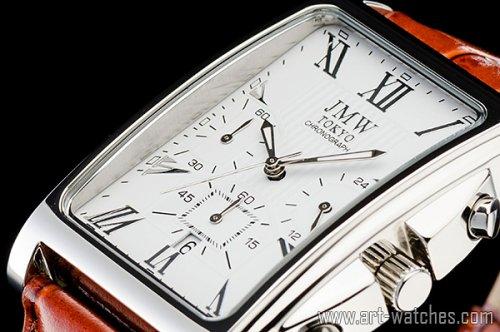【JMW TOKYO】ホワイト&ブラウン角型ローマ数字インデックス上級クロノグラフウォッチ本革レザー腕時計