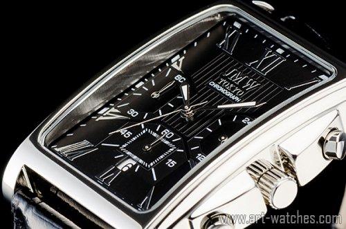 【JMW TOKYO】ブラック&シルバー角型ローマ数字インデックス上級クロノグラフウォッチ本革レザー腕時計