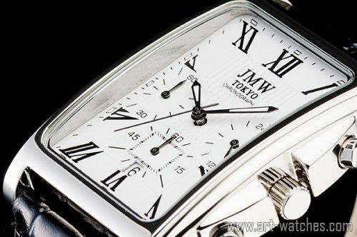 【JMW TOKYO】ホワイト&ブラック角型ローマ数字インデックス上級クロノグラフウォッチ本革レザー腕時計