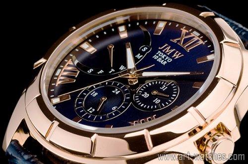【JMW TOKYO】ブルー&ゴールドローマ数字インデックス上級レトログラードウォッチ100m防水本革レザー腕時計