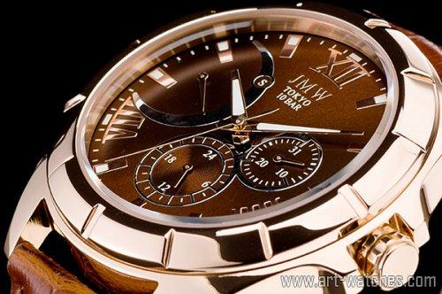【JMW TOKYO】ローズゴールドローマ数字インデックス上級レトログラードウォッチ100m防水本革レザー腕時計