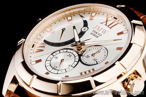 【JMW TOKYO】シルバー&ゴールドローマ数字インデックス上級レトログラードウォッチ100m防水本革レザー腕時計