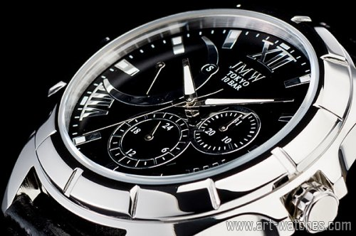 【JMW TOKYO】ブラック&シルバーローマ数字インデックス上級レトログラードウォッチ100m防水本革レザー腕時計