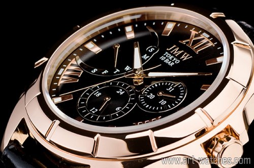 【JMW TOKYO】ブラック&ゴールドローマ数字インデックス上級レトログラードウォッチ100m防水本革レザー腕時計
