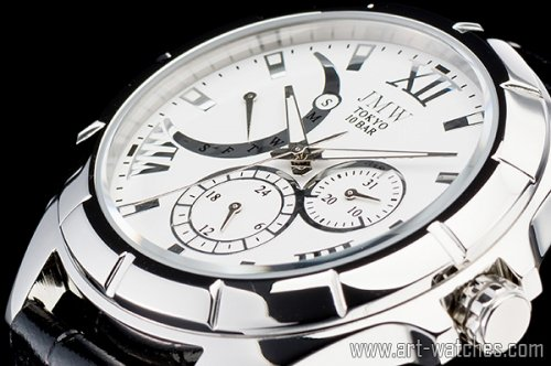 【JMW TOKYO】ホワイト&シルバーローマ数字インデックス上級レトログラードウォッチ100m防水本革レザー腕時計