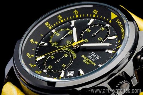 【JMW TOKYO】ブラック&タンレザー上級タキメータークロノグラフウォッチ100m防水本革レザー腕時計