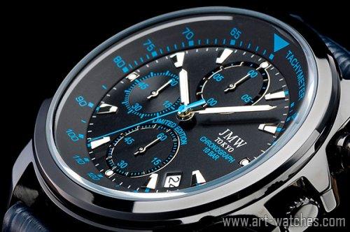【JMW TOKYO】ブラック&ブルー上級タキメータークロノグラフウォッチ100m防水本革レザー腕時計