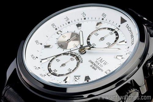 【JMW TOKYO】ホワイト&ブラック上級タキメータークロノグラフウォッチ100m防水本革レザー腕時計