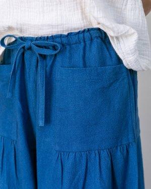 チェンマイコットン ギャザーワイドパンツ 8分丈 藍染め