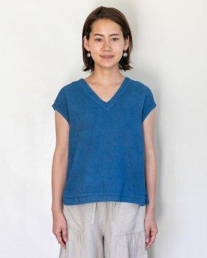ガーゼ Vネック フレンチスリーブシャツ 藍染め