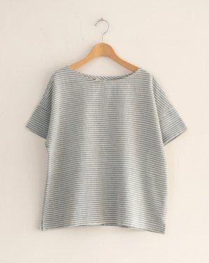草木染・手織りコットン 半袖ブラウス