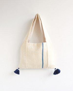 手織りカレン族バッグ(藍染め)