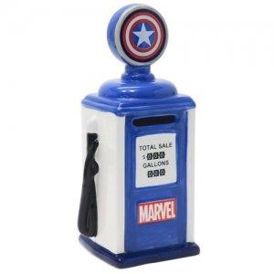 マーベル「キャプテン・アメリカ」ガソリンポンプデザイン貯金箱(陶器製)