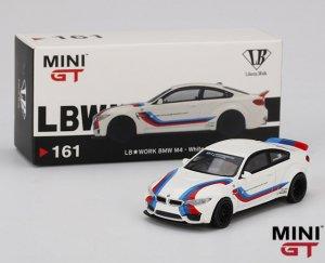 1/64スケール MINI GT 「LB★WORKS BMW M4」ホワイト/ Mストライプ ミニカー