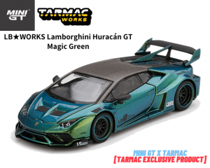 MINI GT x TARMACコラボ 1/64スケール「LB★WORKS ランボルギーニ・ウラカンGT」(マジックグリーン)ミニカー