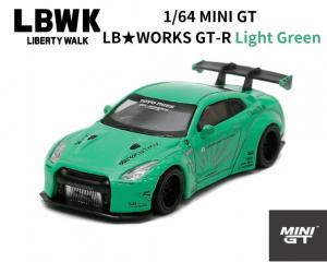 1/64スケール MINI GT「LB★WORKS  Nissan GT-R」(ライトグリーン)ミニカー