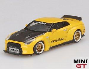1/64スケール MINI GT「PANDEM 日産GT-R(R35)Duck Tail」(メタリックイエロー/カーボン)ミニカー