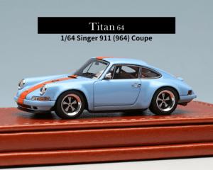 MAKEUP/Titan64 1/64スケール「シンガー911 (964) クーペ」(ガルフブルー / オレンジストライプ)ミニカー