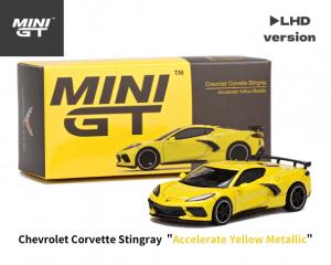 1/64スケール MINI GT「シボレー・コルベット スティングレイ 2020」(アクセレレートイエローメタリック)ミニカー
