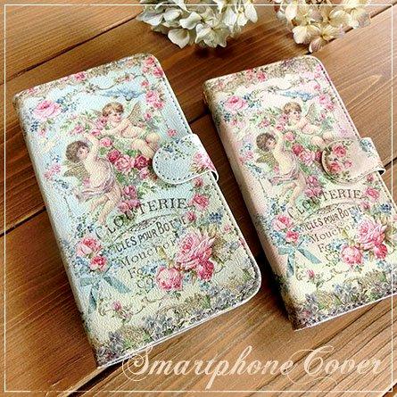 【受注制】手帳型スマートフォンケース★薔薇を抱く2人の天使