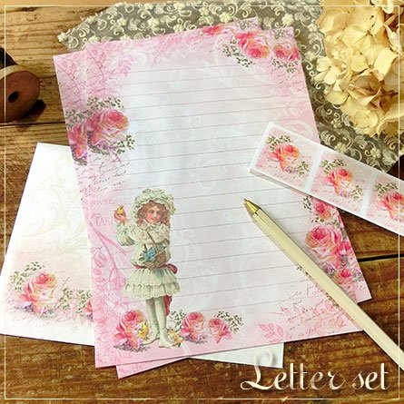 レターセット★ピンクの薔薇と少女