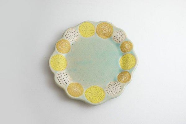 たんぽぽ柄小皿 うす緑