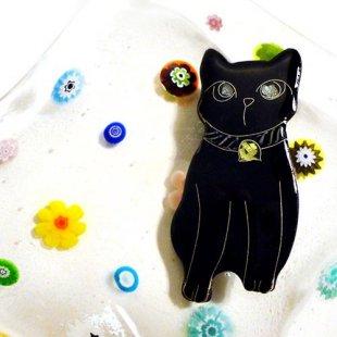 [七宝焼き] 黒猫のブローチ